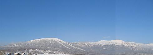 Панорама Шерегешских гор Зеленая, Мустаг и дальше...